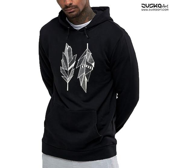 Sacred Feathers | Unisex Heavy Blend Hooded Sweatshirt | Native American Art | Graphic Drawing | Geometric Art | Ink Tattoo style | ZuskaArt