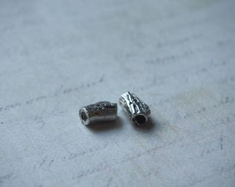 2 tube beads way tree silver-plated 12x8mm