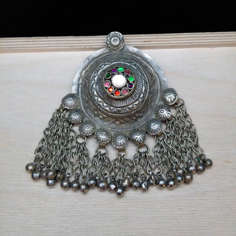 Vintage Tribal Baloch Pendant Domed Cente DIY Ethnic Dance Jewelry