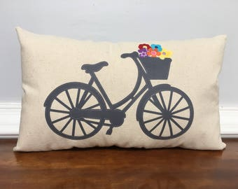 Spring appliqué pillow, Spring bicycle pillow, summer pillow