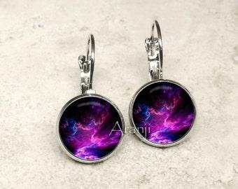 Purple nebula earrings, nebula jewelry, nebula leverback earrings, nebula earrings, space earrings, space jewelry, galaxy, nebula, SP109LB