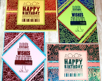 BIRTHDAY CARD SET; Set of 4 Birthday Cards with Handmade Envelopes
