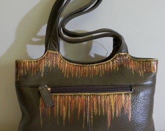 "Stone Mountain Leather Handbag ""Metal Rain"" Hand Painted, One of a Kind, NEW WITH TAGS"
