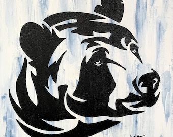 Original watercolor, bear, silhouette, 9x12 on canvas.