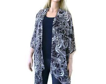 Dark brown and off white Boho Kimono cardigan - swirly print-Lagenlook kimono-Brown white-oversize chiffon kimono- summer collection