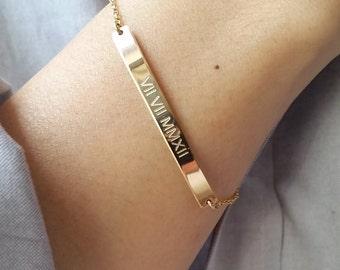 Roman Numeral Bracelet - Personalized Gold Bar Bracelet - Date Bracelet - Nameplate Bracelet - Save The Date - Custom Engraved Bracelet