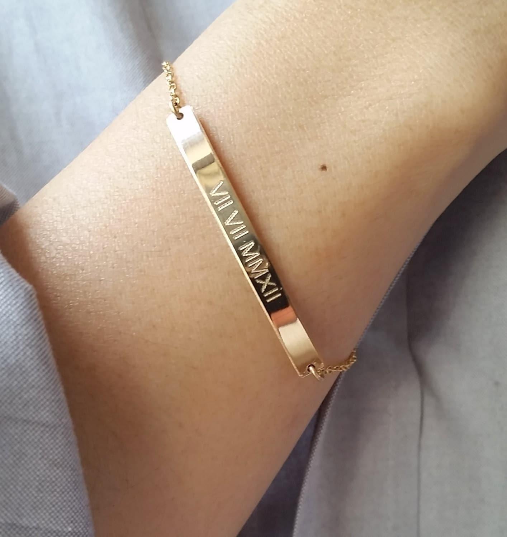 Roman Numeral Bracelet Personalized Gold Bar Bracelet Date