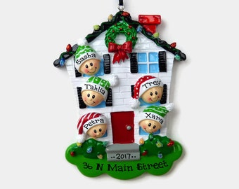 5 People at Home Personalized Ornament - New House - Personalized Family Ornament