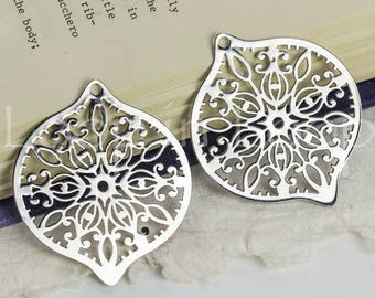 25%OFF Oval Filigree Pendant, Large Laser Cut Rhodium Silver leaves Charm, thin and light Earring Charm, Metal Connector TH314 - 1 pc