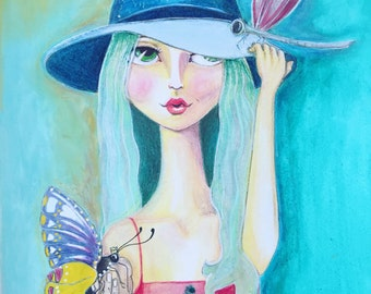 Dragonfly illustration print butterfly girl art whimsical dragonfly art butterfly print