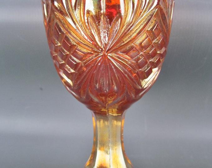 Imperial Carnival Glass - DIAMOND & SUNBURST Marigold Wine Stem