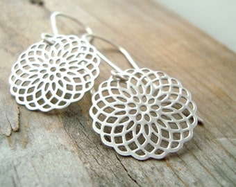 Silver Mandala Earrings Metalwork Sterling Silver Zen Asian Style Modern Long Dangles Gifts Under 30