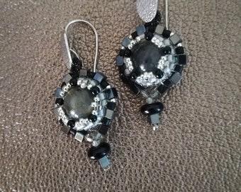 Handmade earrings with glass beads, Labradors and Hematite
