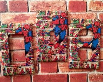 Marvel Spiderman Comic light switch cover plate outlet home decor room decor