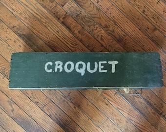 Vintage Wooden Children's Croquet Set Box