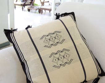Handmade Black and Off-White Cushion inspired from Naga tribal designs 45cm x 45cm (cover only)