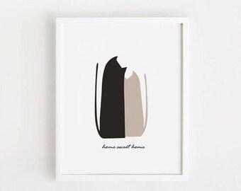 Home sweet home Cat art Printable, poster, decor, cafe, kitchen, Black, digital file, 8x10 INSTANT DOWNLOAD