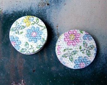 Pastel Flower Sticker Seals, Set of Twenty Floral Stickers, Handmade Envelope Seals, Pretty Paper Stationery Stickers