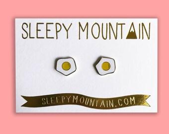 Egg Earrings - Gold Plated Fried Egg Sleepy Mountain Studs