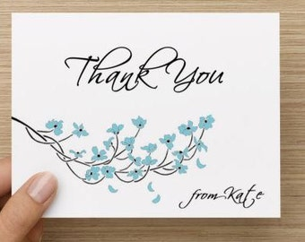 Bridal Shower Thank You Card.  Personalized with dogwood branch. Multiple pack sizes available!