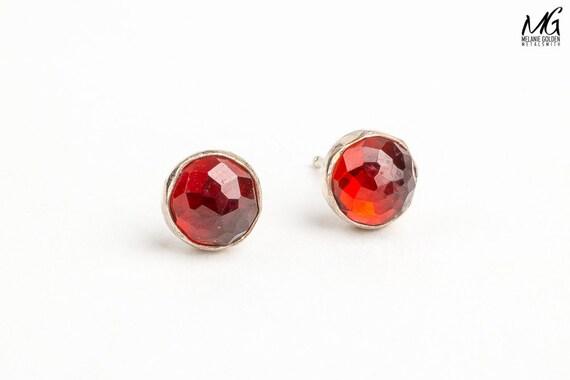 Red Rhodolite Garnet post earrings in Sterling Silver - Strawberry red stud earrings - Blood red faceted gemstone earrings