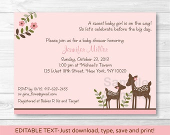 Pink Deer Baby Shower Invitation / Deer Baby Shower / Woodland Baby Shower / INSTANT DOWNLOAD Editable PDF A379