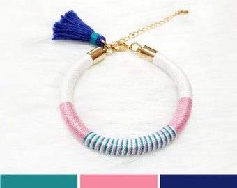 Beach Jewelry, Tassel Jewelry, Rope Bracelet for Girls, Summer Gift for Girls, Summer Bracelet, Hippie Bracelet Gift, Colorful Bracelet