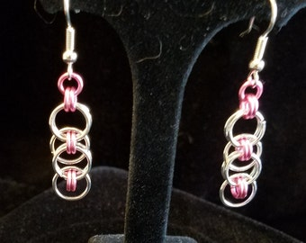 Silver and Pink Chain Maille Earrings
