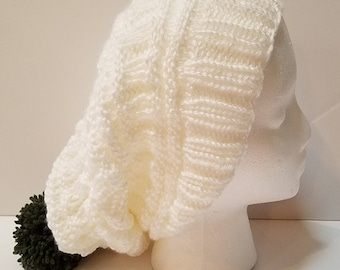White Slouchy Hat with Pompom