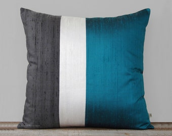 Teal Silk Color Block Pillow Cover with Cream and Charcoal Gray Panels by JillianReneDecor | Pacific Blue Pillow | Modern Home Decor