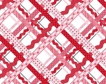 Red and Pink Ric Rac Stripe Cotton fabric