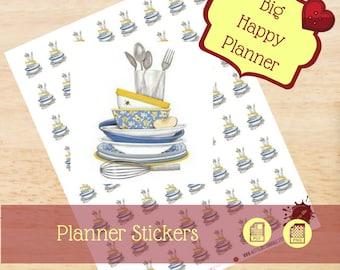 Dishes Stickers|Clean Dishes Stickers|Clean Singles Stickers|Single Sheet Stickers|Big Happy Planner Stickers|Happy Planner Stickers|MAMBI