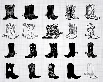 Cowboy Boots SVG Bundle, Cowgirl Boots SVG, Cowboy Boots Clipart, Cut Files For Silhouette, Files for Cricut, Vector, Svg, Dxf, Png, Decal