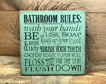 Bathroom Decor, Wooden Bathroom Sign, Typography Sign, Bathroom Rules, Gift for Mom, Housewarming gift, Wood Sign Saying, Bath Decor