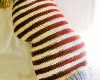 Red White Stripe  Dog Sweater / Handknit / Dog Clothing /Made to Order