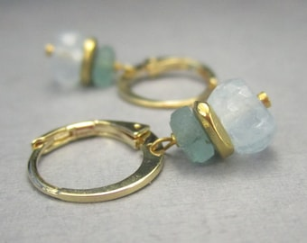 Gold Hoop Earrings with Roman Glass and Blue Gemstone Drop