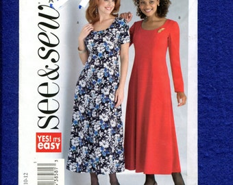 See & Sew 4263 Slimming Princess Seam Dress with Scoop Neckline Size 8..10..12 UNCUT