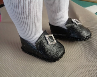 Black Colonial Rhinestone Buckle Doll Shoes -Fits 18 Inch Dolls - Fits American Girl and Boy Dolls