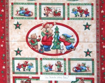 "Christmas Fabric - Be Merry Teddy Bear Wallhanging Red - Marcus Bros 23"" Panel"
