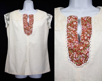 Vintage 70's Lace Sleeved & Collared Floral Pattern Summer Top L