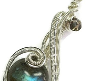 """Labradorite Wire-Wrapped """"Mini-Coriolis"""" Pendant in Sterling Silver with Swarovski Crystal; Woven Wire Necklace - MCRLPSS18C"""