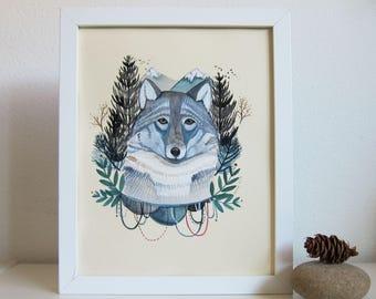 Art - Wolf Art - Wolf Illustration - Illustration - Original Art - Wolf Painting - Animal Art - Original Painting - Winter Wolf