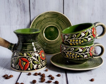 Anniversary-gifts-for-women-21st-birthday-Turkish-coffee-set-pottery-coffee-pot-and-two-small-coffee-mugs-with-saucer-Green-gifts-for-mom