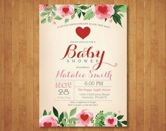 Valentine Baby Shower Invitation. Little Sweetheart Baby Shower Invitation. February. Floral Pink, Red Heart. Girl or Boy. Printable Digital