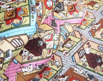 Oxford - Neko Atsume fabric - 50cm