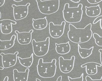 Cotton + Steel Knit Fabric - Hello Collection - Hello Grey - Alexia Abegg - Cotton Spandex Jersey - Animal Face Fabric - C+S