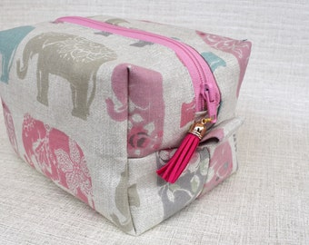 Pink and Grey Elephants | Zippered Purse | Cosmetic Bag | Make-up Bag | Toiletry Bag | Organiser | Gift