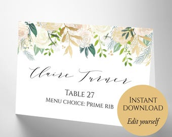 Place card template wedding place cards editable place place cards place cards wedding place card template pdf template diy place solutioingenieria Gallery