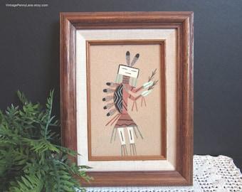 Weinlese Navajo Sand-Malerei, Buckelwale Yei Figur, Eiche Holz gerahmt, Künstler signiert, indianischen Kunst