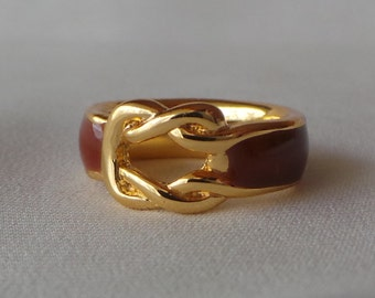 Ring - brass - enamel size 48 unsigned vintage Balenciaga